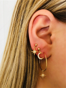 PMS Earrings Same As Photo / one size Full Diamond Star Moon Earring Stud Earrings Combination