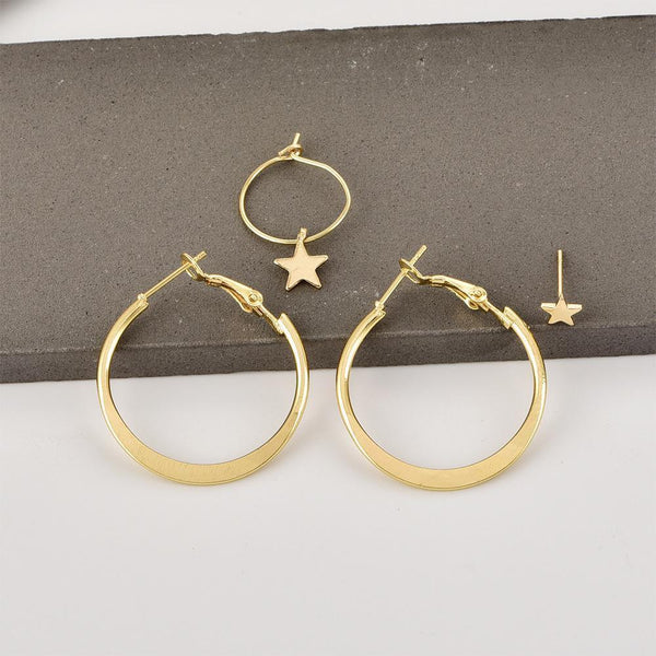 PMS Earrings Same As Photo / one size Pentagram earrings round earrings earrings combination