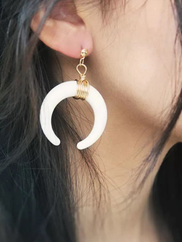PMS Earrings White / one size Fashion Horn Shaped Round Wire Earring