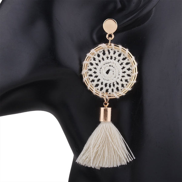 PMS Earrings White / one size Knitted handmade fashion tassel long earrings