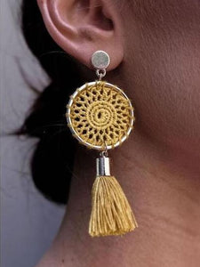 PMS Earrings Yellow / one size Knitted handmade fashion tassel long earrings