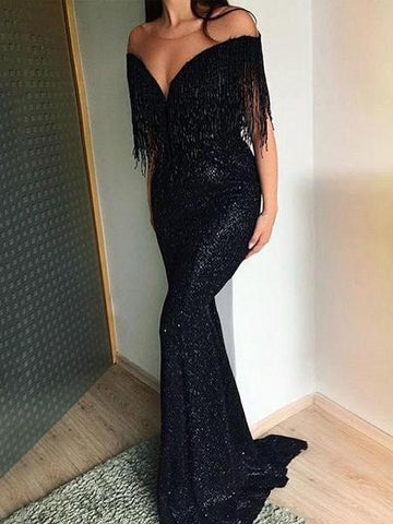 PMS Evening Dress Black / s Sexy V-Neck Sleeveless Slim Maxi Evening Dress