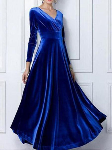 PMS Evening Dress Blue / s Sexy Deep V-Neck Velvet Long Sleeve Maxi Dress