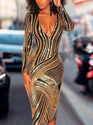 PMS Evening Dress Gold / s Sexy Deep V Sequins Striped Slim Bodycon Dresses