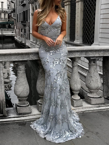 PMS Evening Dress Gray / s Sexy V-Neck Sleeveless Strap Sequined Evening Dress