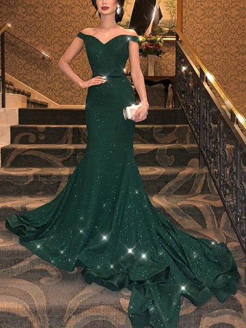 PMS Evening Dress Green / s Off-The-Shoulder Sexy Sparkling Fishtail Evening Dress