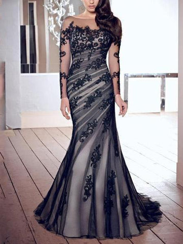PMS Evening Dress Same As Photo / s Fashion Lace Gauze Slim Fishtail Evening Dress