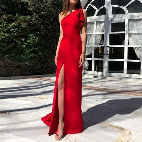 PMS Evening Dresses Red / s Sexy One Shoulder Solid Color Evening Dresses
