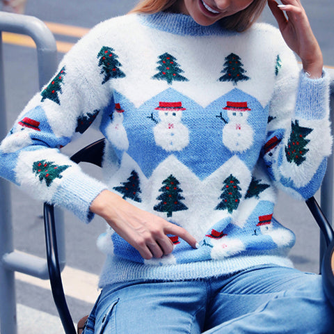 Fashion Ladies Christmas Pattern Long Sleeve Knitted Sweaters