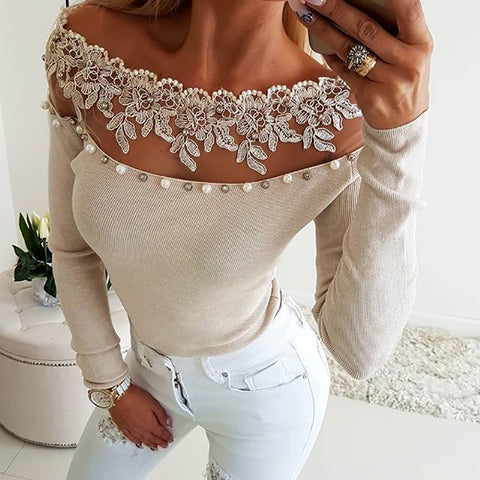 Fashion pure color open shoulder spliced T-shirt
