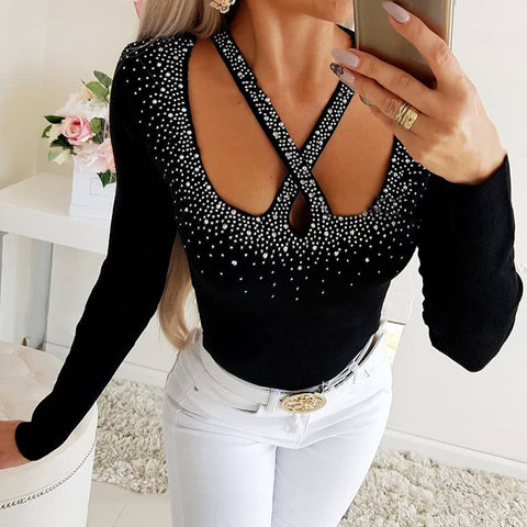 Womens Sexy Sequin Bodycon Long Sleeve Top