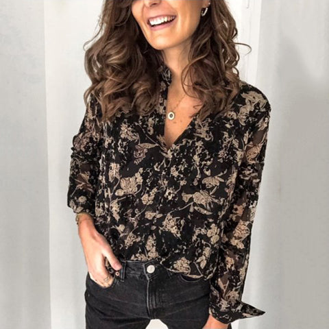 Fashion Round Neck Print Loose Long Sleeve Blouse