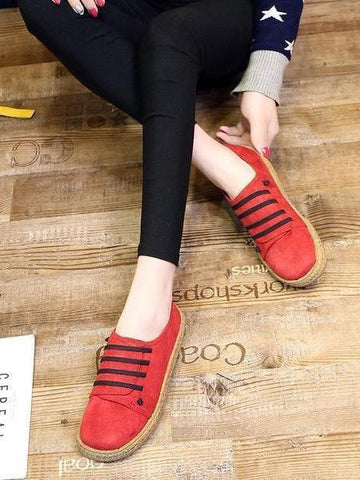 PMS Flat Shoes Red / 35 Suede Slip On   Soft Loafers Lazy Casual Flat Shoes For Women