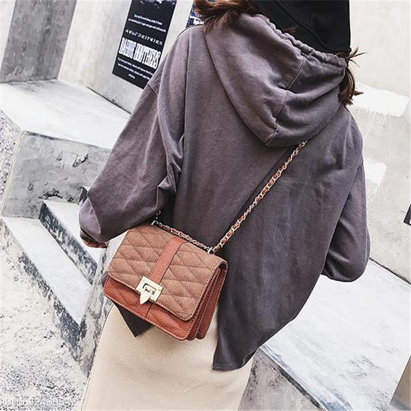 PMS Handbags brown / one size Fashion Elegant Casual Plain Square Buckle Chain One Shoulder Hand Bag