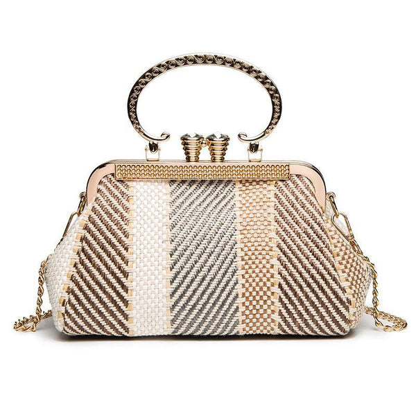 PMS Handbags same_as_photo / one size Fashion Elegant Strip Shell Shape Chain One Shoulder Hand Bag