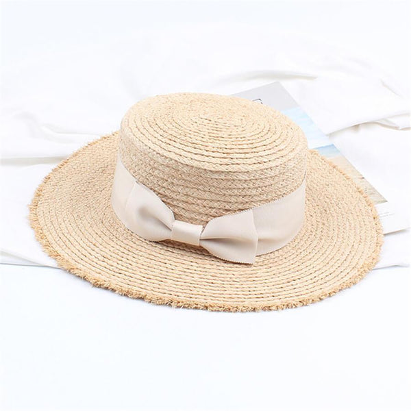 PMS Hats Beige / one size Retro   Flat Top Shade Bow Straw Hat