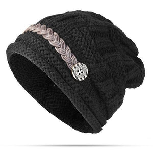 PMS Hats Black / one size Knitted Crochet Button With Cap Decorative Braids Loose Beanie Hat