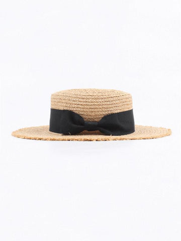 PMS Hats Black / one size Retro   Flat Top Shade Bow Straw Hat