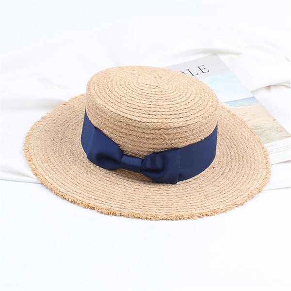 PMS Hats Dark Blue / one size Retro   Flat Top Shade Bow Straw Hat