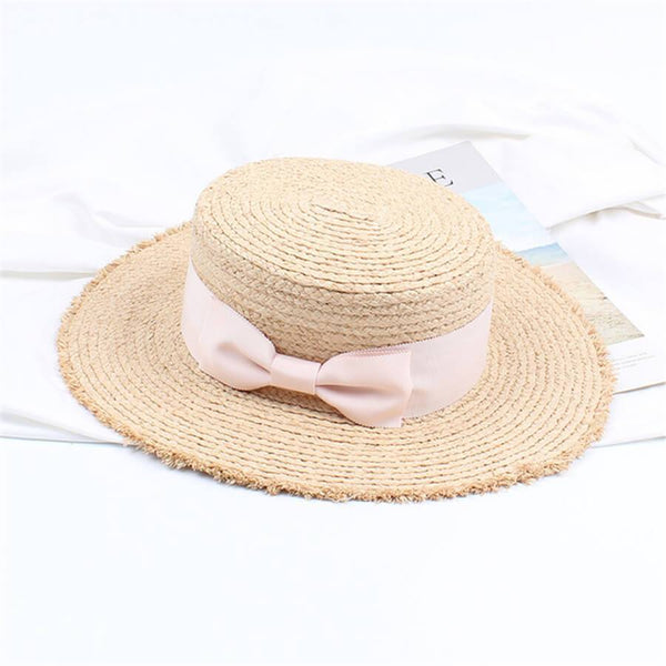 PMS Hats Light Pink / one size Retro   Flat Top Shade Bow Straw Hat