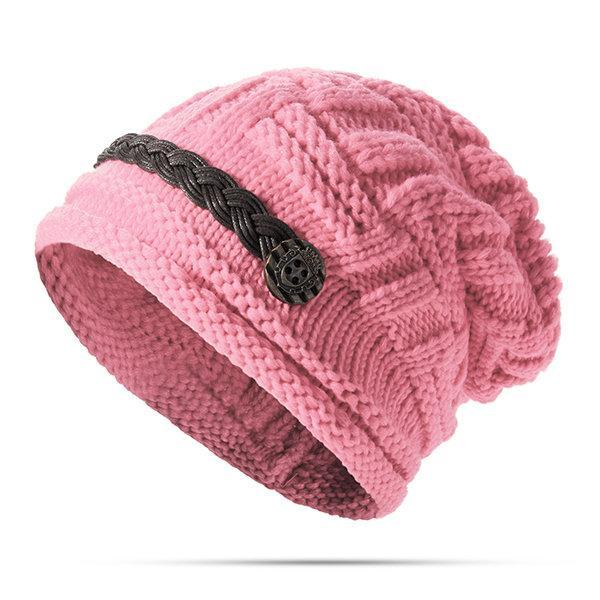 PMS Hats Pink / one size Knitted Crochet Button With Cap Decorative Braids Loose Beanie Hat