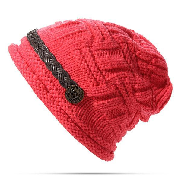 PMS Hats Red / one size Knitted Crochet Button With Cap Decorative Braids Loose Beanie Hat
