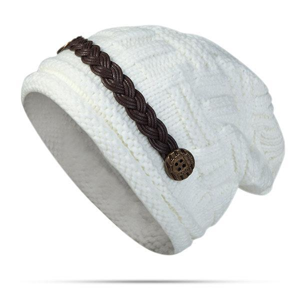 PMS Hats White / one size Knitted Crochet Button With Cap Decorative Braids Loose Beanie Hat
