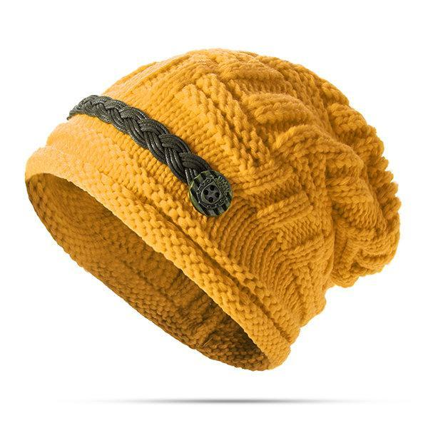 PMS Hats Yellow / one size Knitted Crochet Button With Cap Decorative Braids Loose Beanie Hat