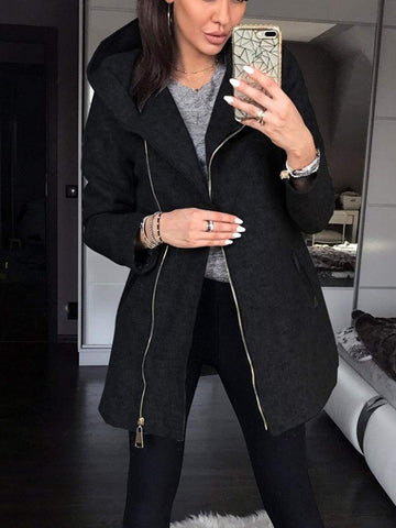 PMS Jackets Black / s Autumn And Winter New European And American Fashion Side Zipper Jacket