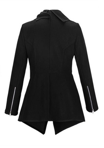 PMS Jackets black / s Lapel  Plain Front Wrapped Outerwear