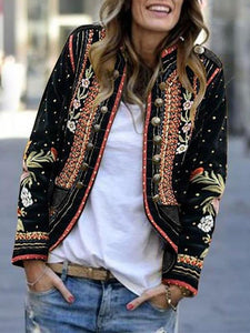 PMS Jackets Black / s Long Sleeve Floral Embroidery Blazer Outerwear