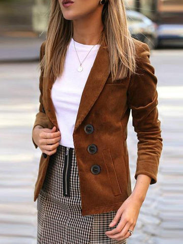 PMS Jackets Brown / s Autumn New Lapel Long-Sleeve Women Jacket