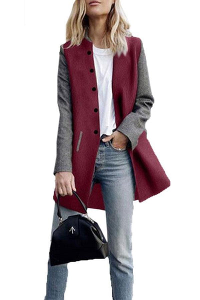 PMS Jackets claret_red / 3xl Single Breasted  Color Block Outerwear