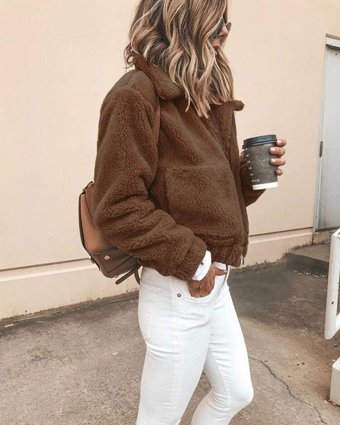 PMS Jackets Coffee / s Autumn And Winter Fashion Long-Sleeved Zipper Plush Jacket