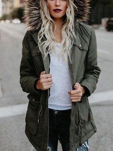 PMS Jackets green / s Fashion Hair Collar Full Cotton Long-Sleeved Jacket