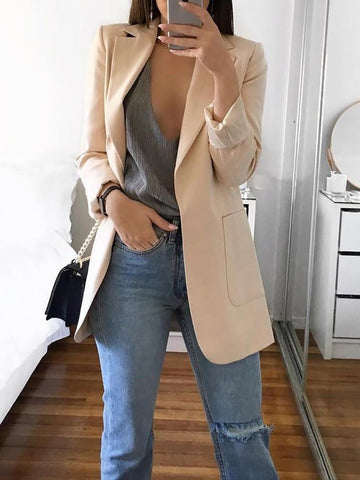 PMS Jackets Khaki / s Casual Pure Color Lapel Slim Cardigan Style Suit Jacket