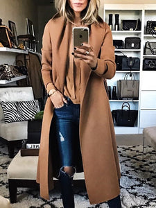PMS Jackets Khaki / s Fashion Solid Color Lapel Woollen Outerwear