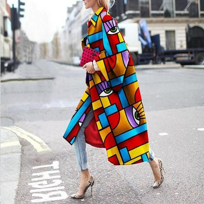PMS Jackets Same As Photo / s Fashion Geometric Color Printed Jacket