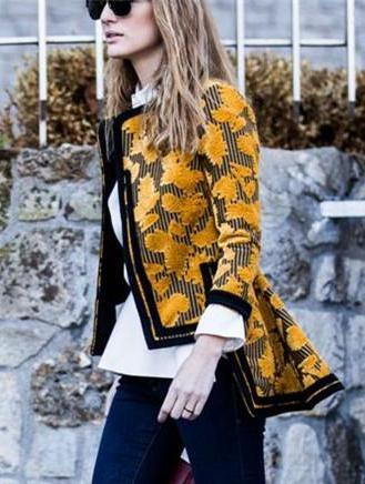 PMS Jackets Yellow / s Autumn And Winter   Fashion Printing Irregular Jacket