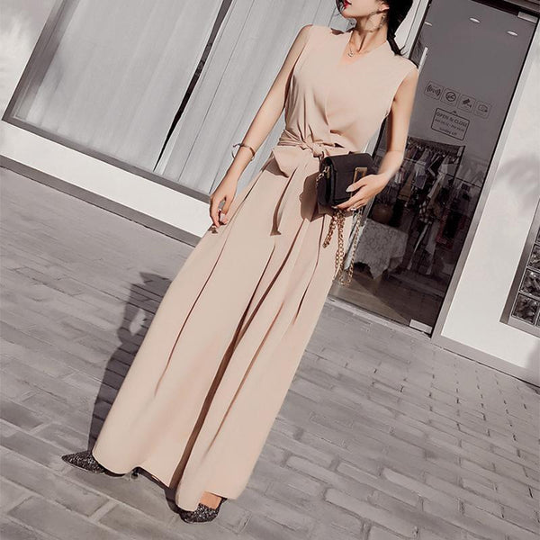 PMS Jumpsuits Apricot / s Sexy V Neck Bow Sleeveless Pure Colour Jumpsuit