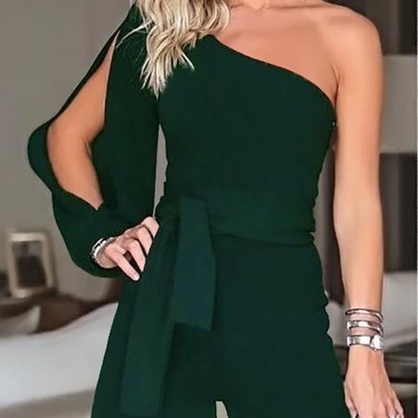PMS Jumpsuits Army Green / s Casual Sexy Off The   Shoulder Frenulum Slim Pure Color Shorts Jumpsuit