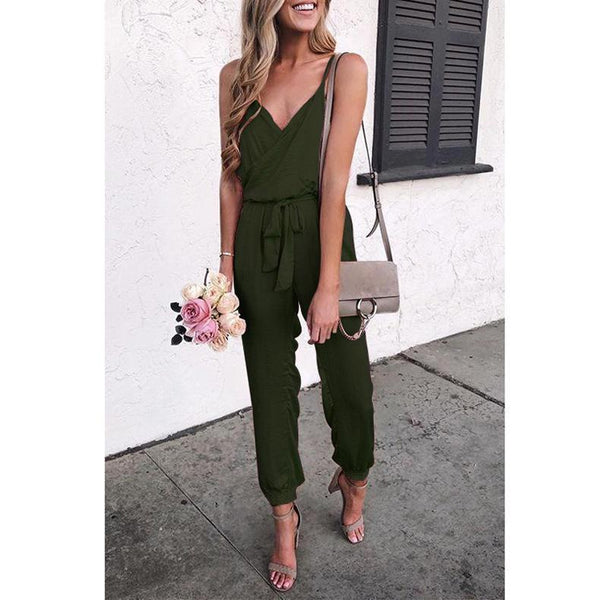 PMS Jumpsuits Army Green / s Pure Color Suspenders Casual Jumpsuits