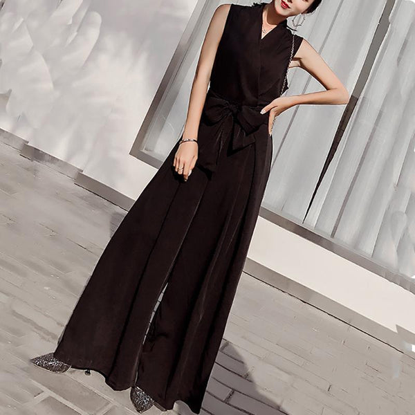 PMS Jumpsuits Black / s Sexy V Neck Bow Sleeveless Pure Colour Jumpsuit