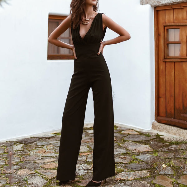PMS Jumpsuits Black / s Sleeveless Plain Wide Leg Jumpsuit