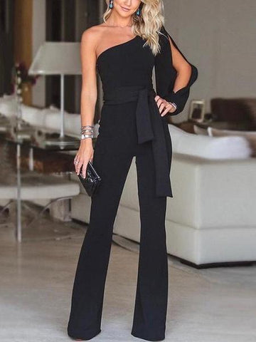 PMS Jumpsuits Black / s Stylish One Shoulder Long Sleeves Jumpsuit