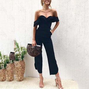 PMS Jumpsuits Black / xl Black Sexy Stylish Off Shoulder Jumpsuit