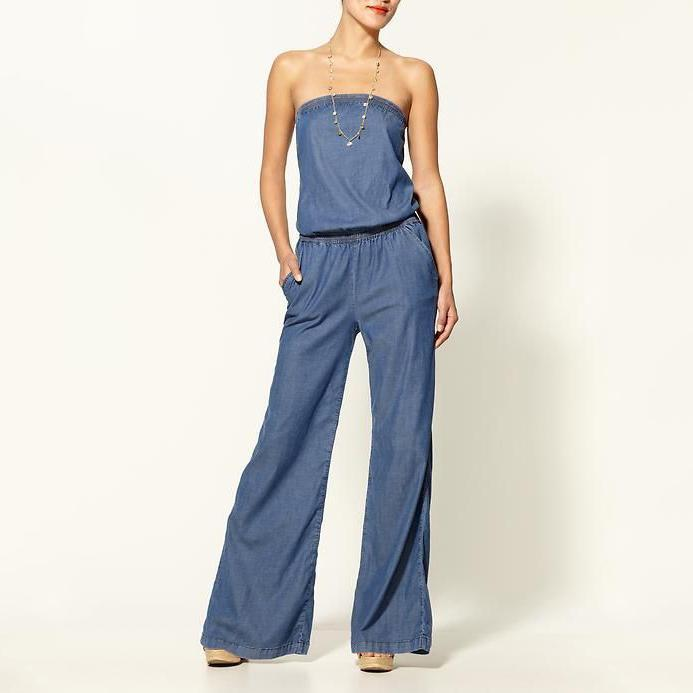 PMS Jumpsuits Blue / 3xl Tube Thin Jeans Jumpsuit