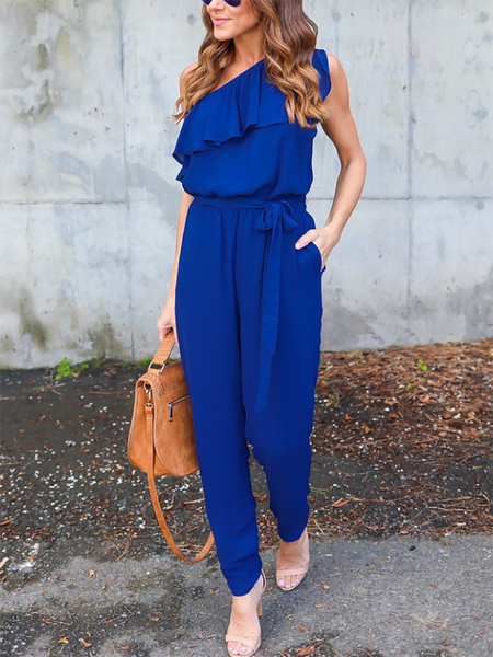 PMS Jumpsuits Blue / s Bowknot Elastic Waist Flounce Lace-Up  Belt Loops Plain Jumpsuits