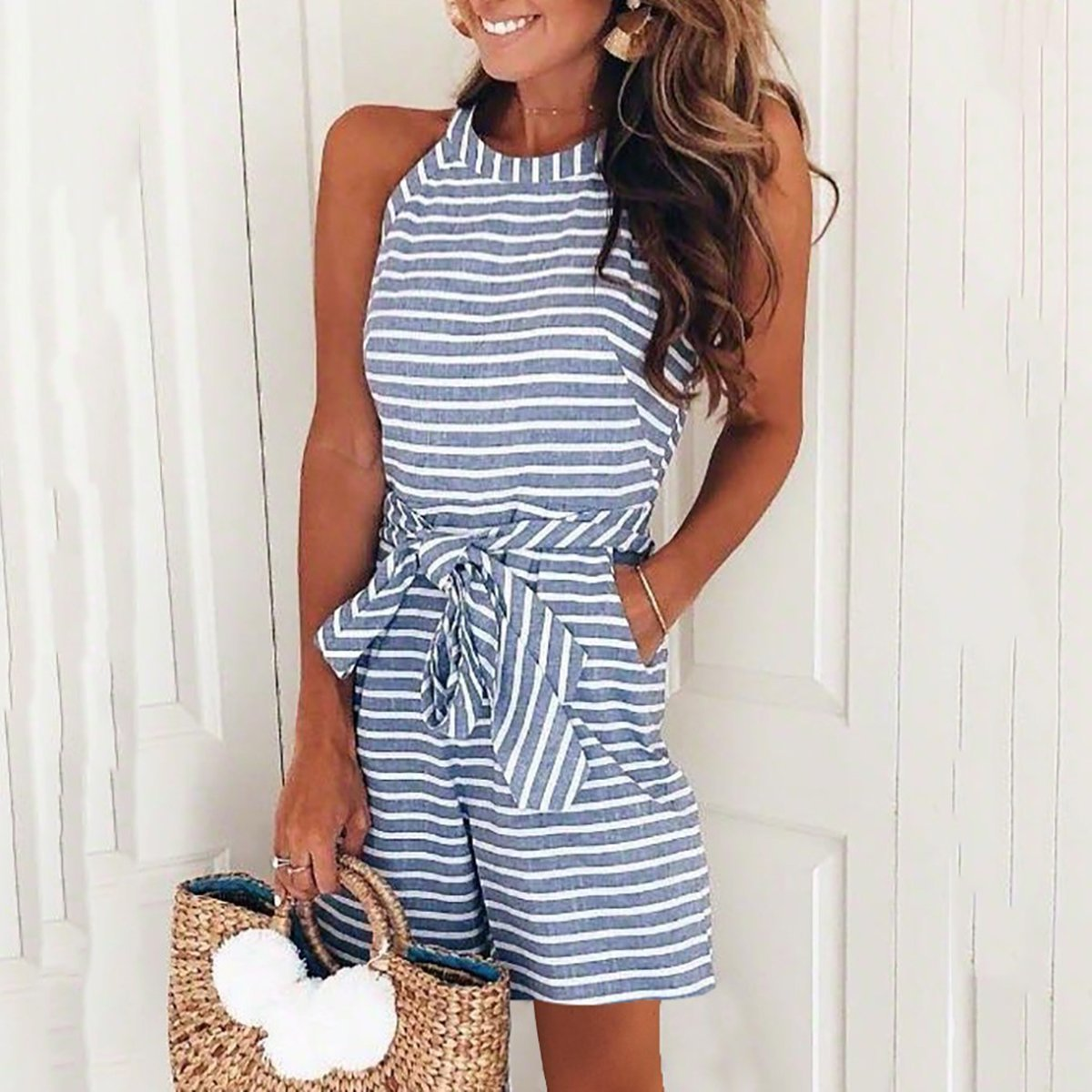 PMS Jumpsuits Blue / s Fashion Casual Sleeveless Stripe Rompers