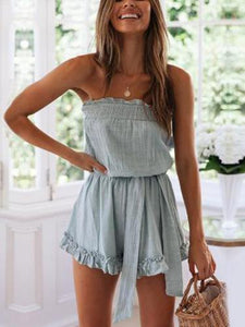 PMS Jumpsuits Blue / s Ruffled Chest Strap Tie Jumpsuit